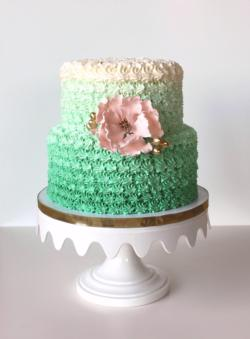 Green Ombre Cake Pink Sugar Flowe
