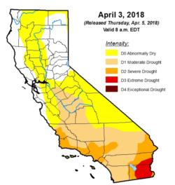 Apr 2018 from US Drought Monitor. White = please continue to conserve